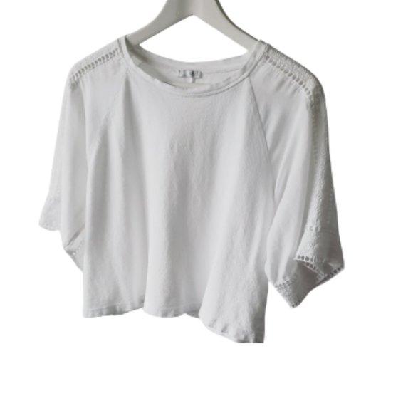 White Zara sleeve detail cropped blouse